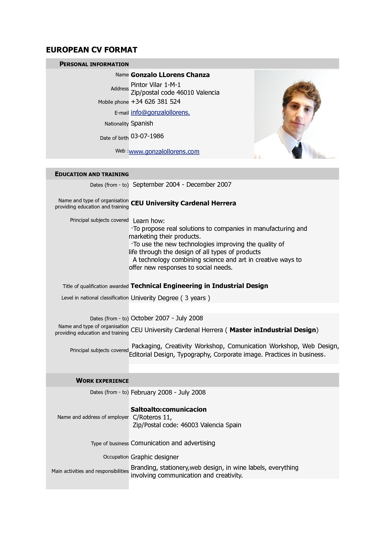 professional canadian cv template