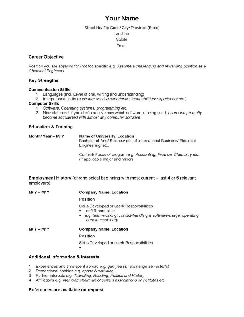 example cv for canadian application