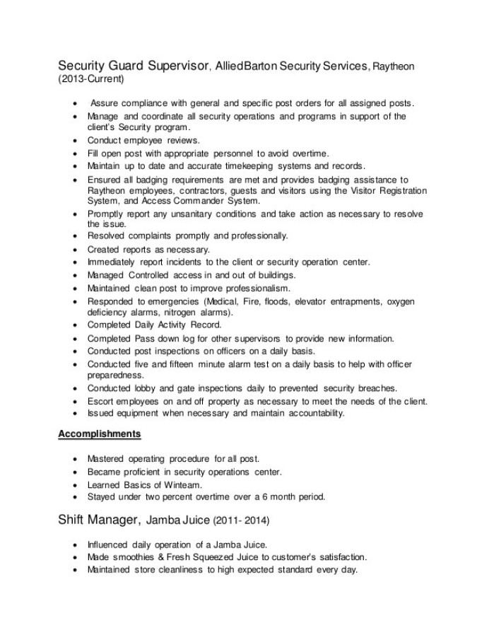 Resume Example Canada Government