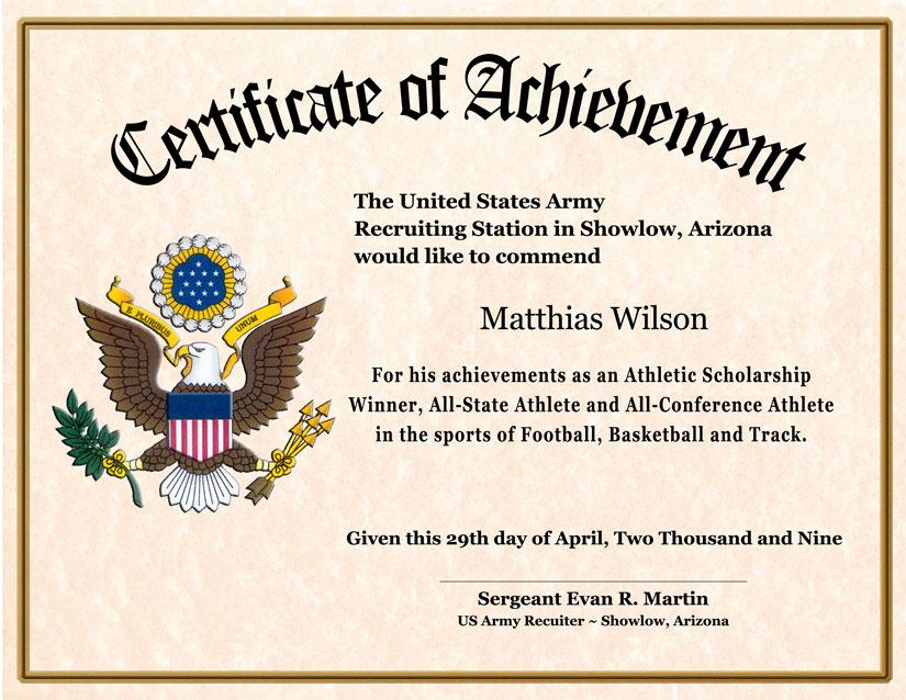 Army Certificate Of Achievement Template Costumepartyrun