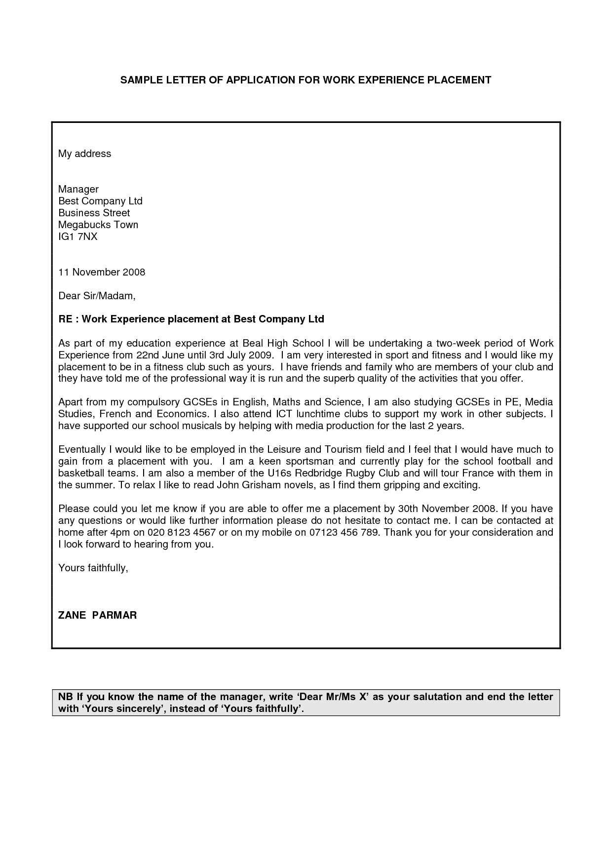 cover letter for work experience placement