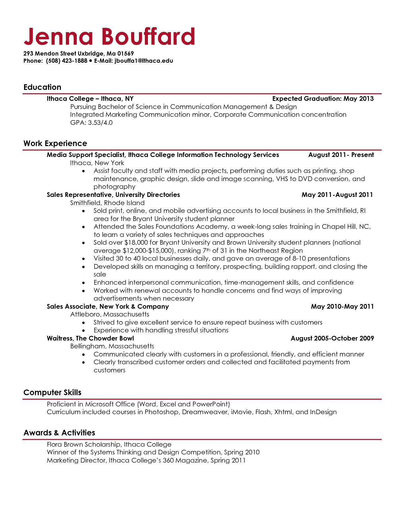 sample of a high school student resume heading