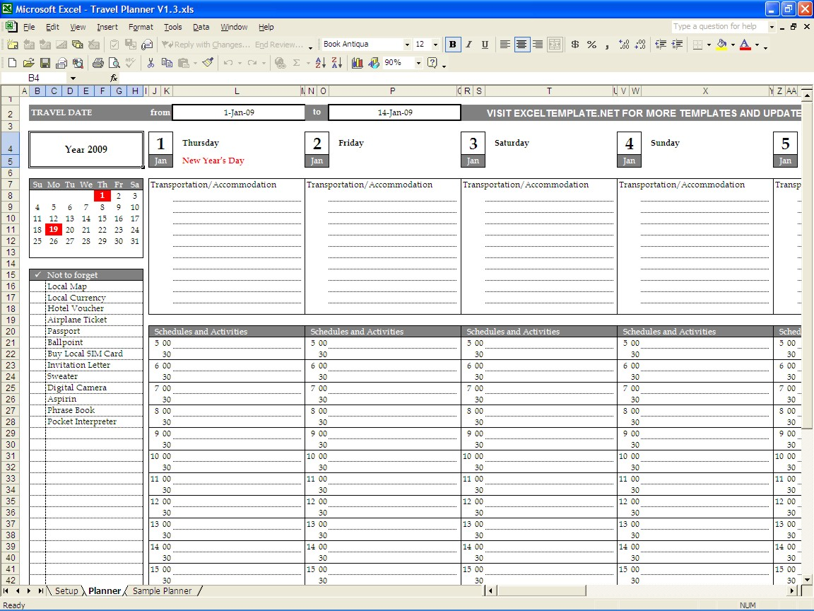 trip planning spreadsheet