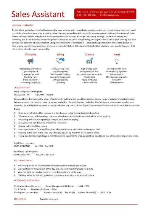 cv template for retail sales assistant
