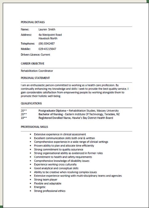 examples de personal statement cv