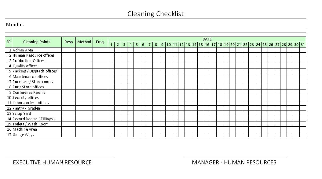 housekeeping schedule chart