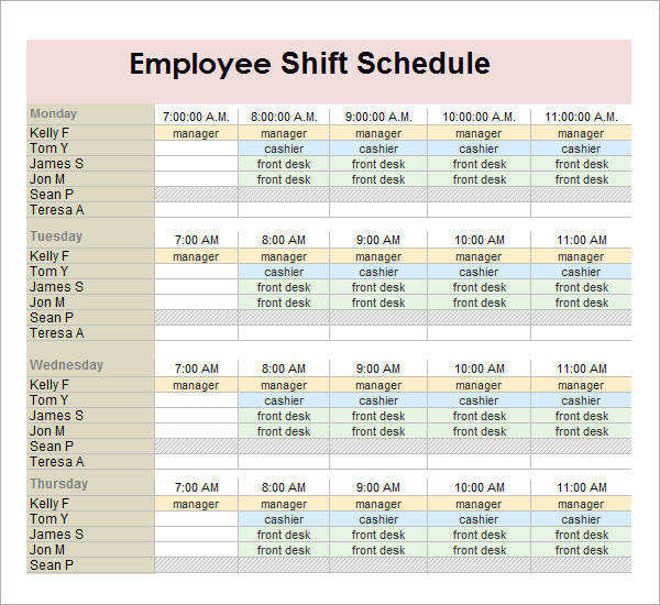 Employee Shift Schedule Generator planner template free