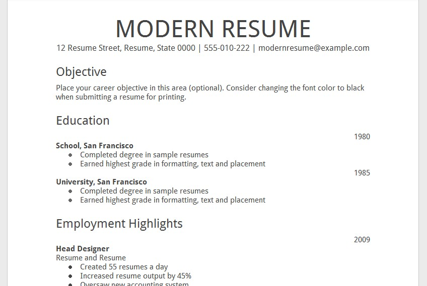 google docs resume template with photo