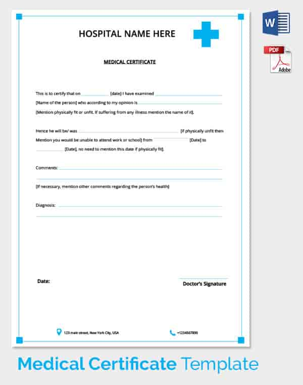 Medical Certificate Templates Image collections - template design