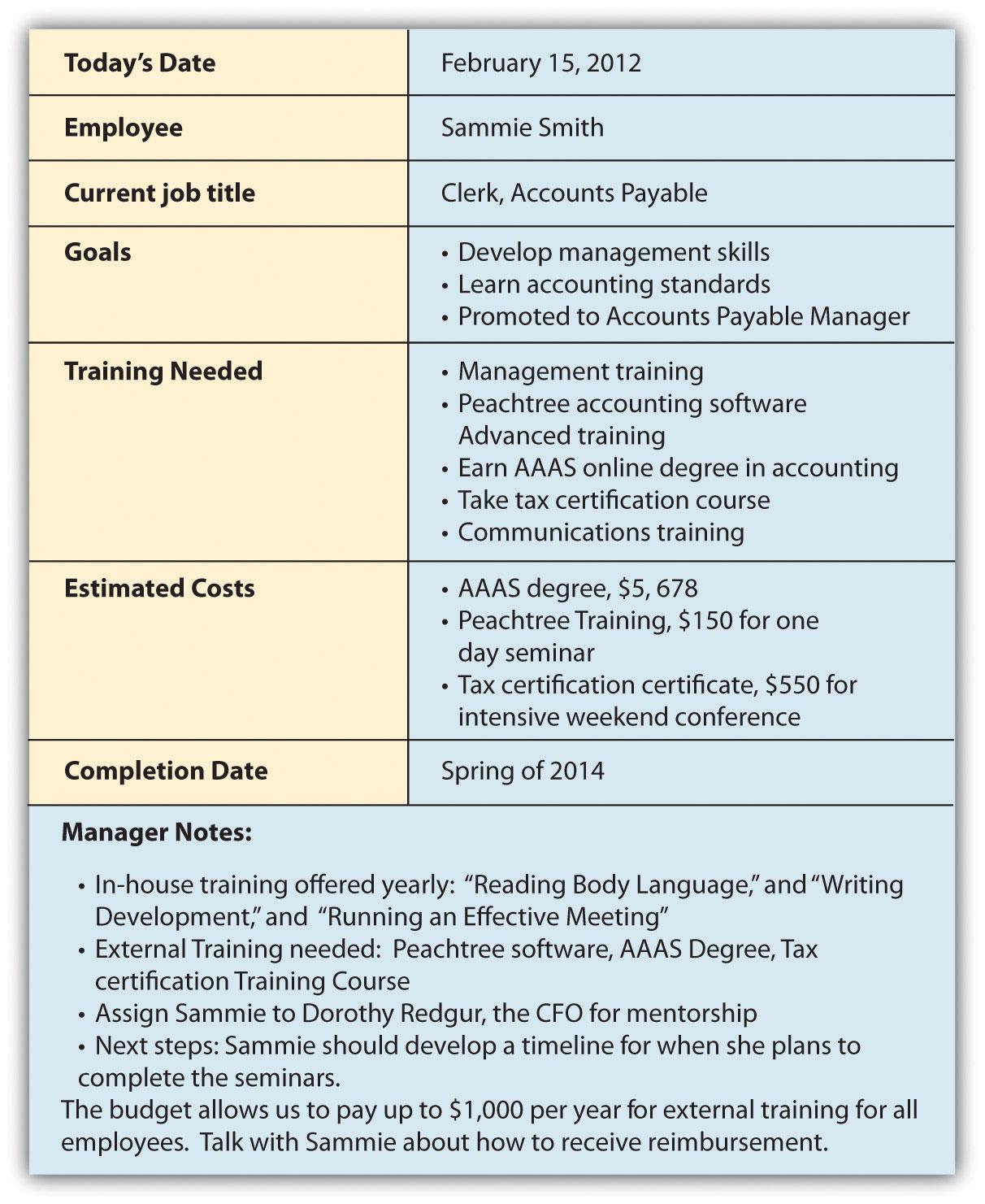employee training plan template pdf