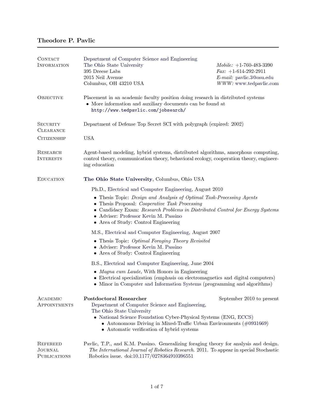 cv template academic science