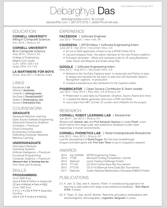 latex cv template one page