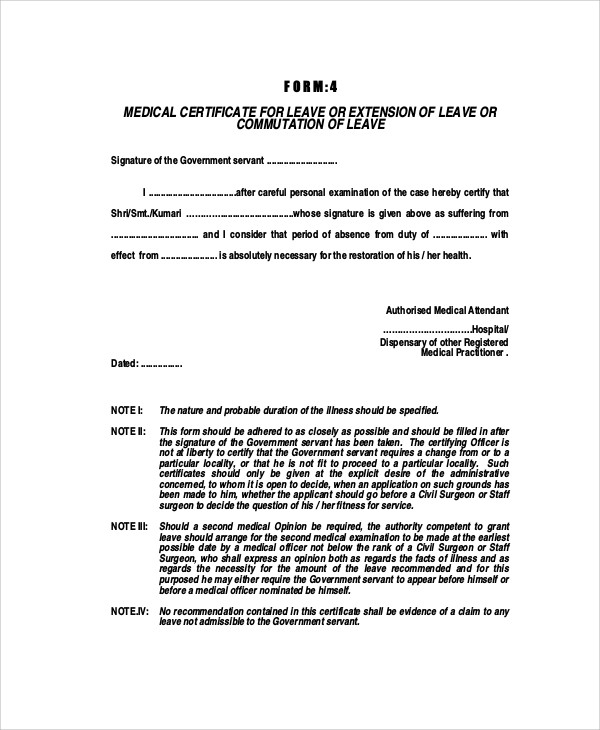 medical certificate for leave india
