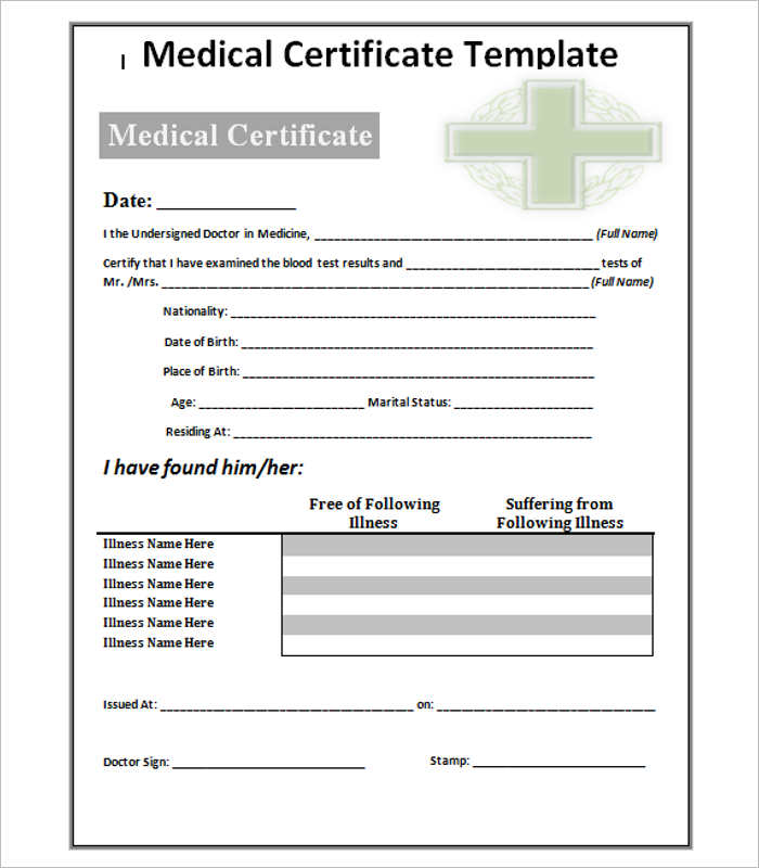 Medical Certificate Template Doc planner template free