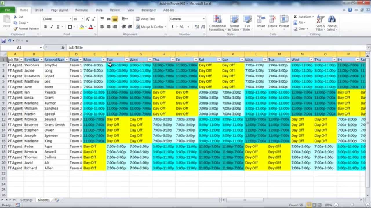 excel rotating schedule