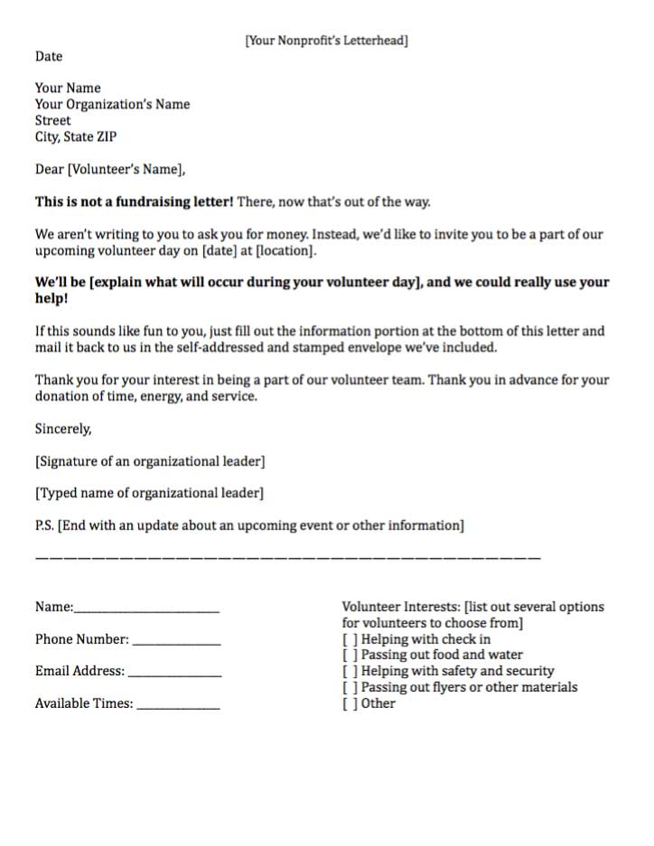 Sample Letter Asking For Volunteers planner template free