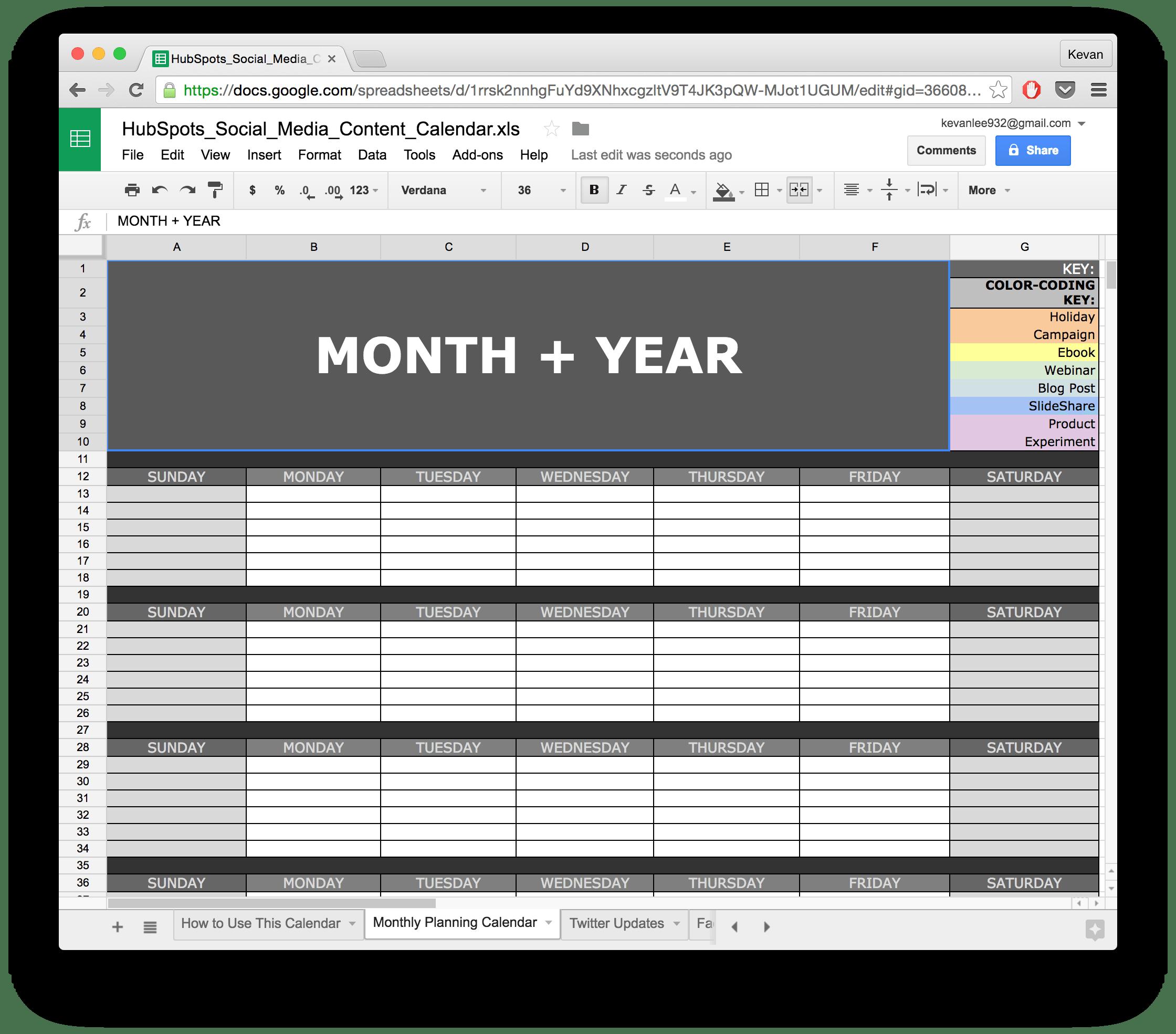 google docs weekly calendar