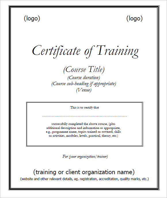 Training Certificate Template Doc planner template free
