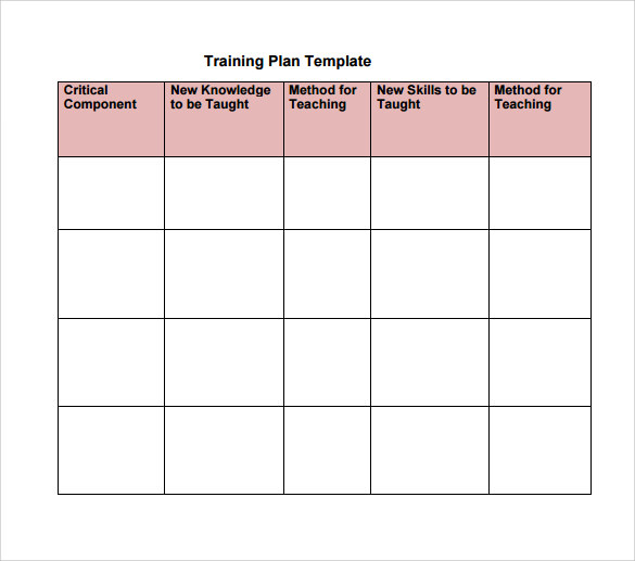 Training Plan Template Excel Download planner template free