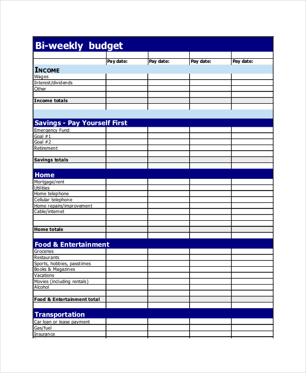 Weekly Budget Planner Template planner template free