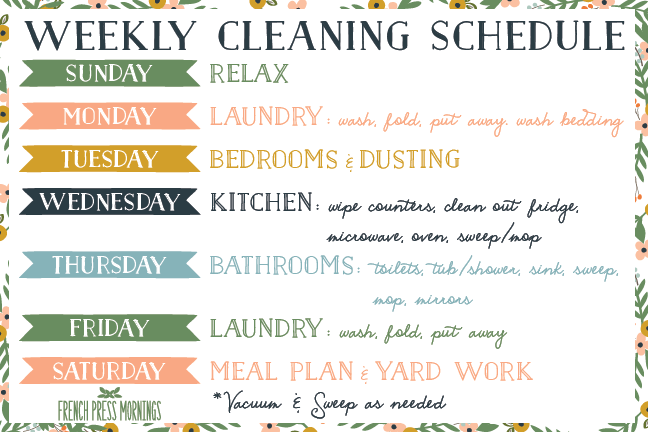 weekly cleaning schedule templates