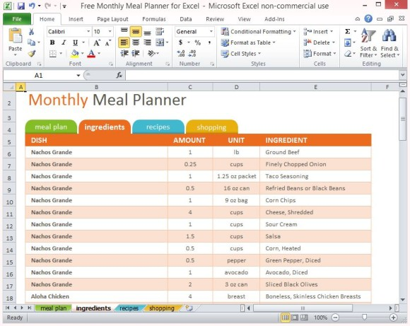 Weekly Meal Planner Template Excel planner template free