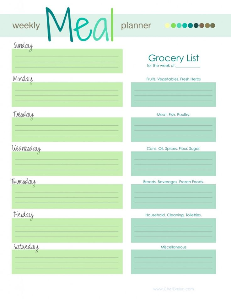 Weekly Meal Planner Template planner template free