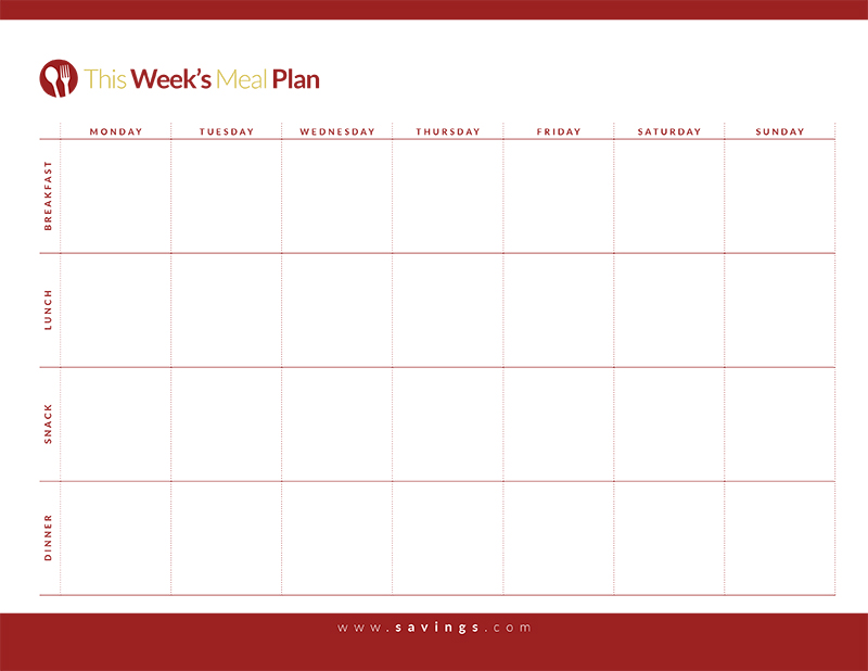Weekly Meal Planner Template With Snacks planner template free
