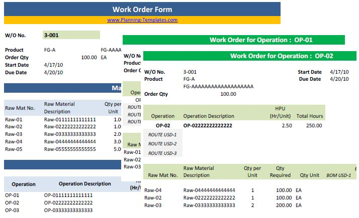 Work Order Form Template in Excel Spreadsheet