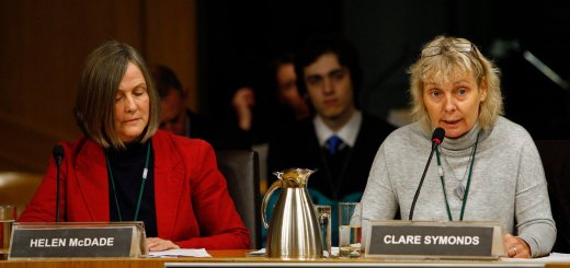 Clare Symonds and Helen McDade at the Parliament