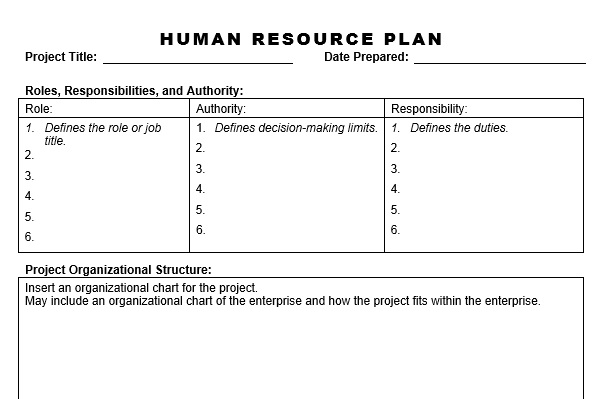 human resources plan sample hr planning recruitment selection - resource planning template