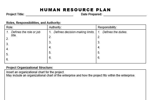 sample human resource plan hr plan template doctemplates human - resource plan template