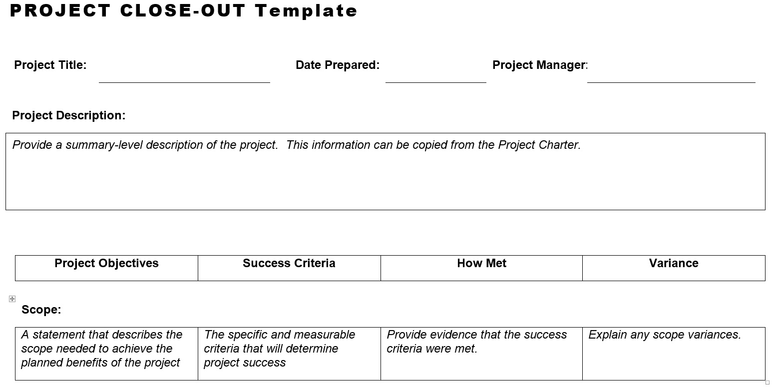Project Close Out Template Planning Engineer