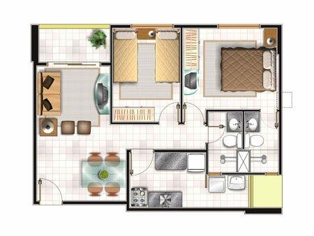 Nếu sở hữu khuôn nhà vuông vức, cân đối, bạn có thể đưa 2 phòng ngủ
