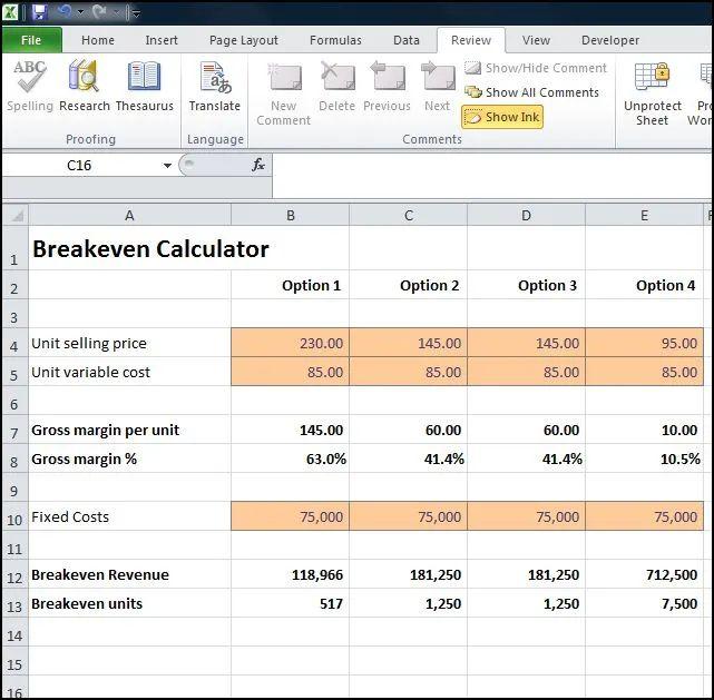break even calculator excel