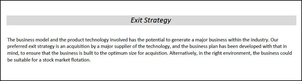 Exit Strategy in a Business Plan Plan Projections - business plan example