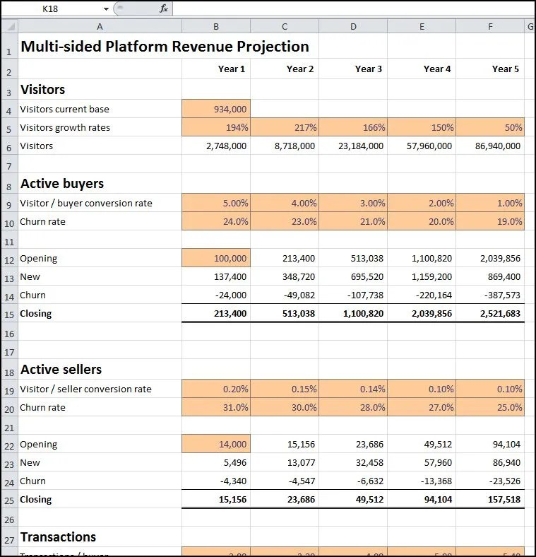 Multi-sided Platform Revenue Projection Plan Projections