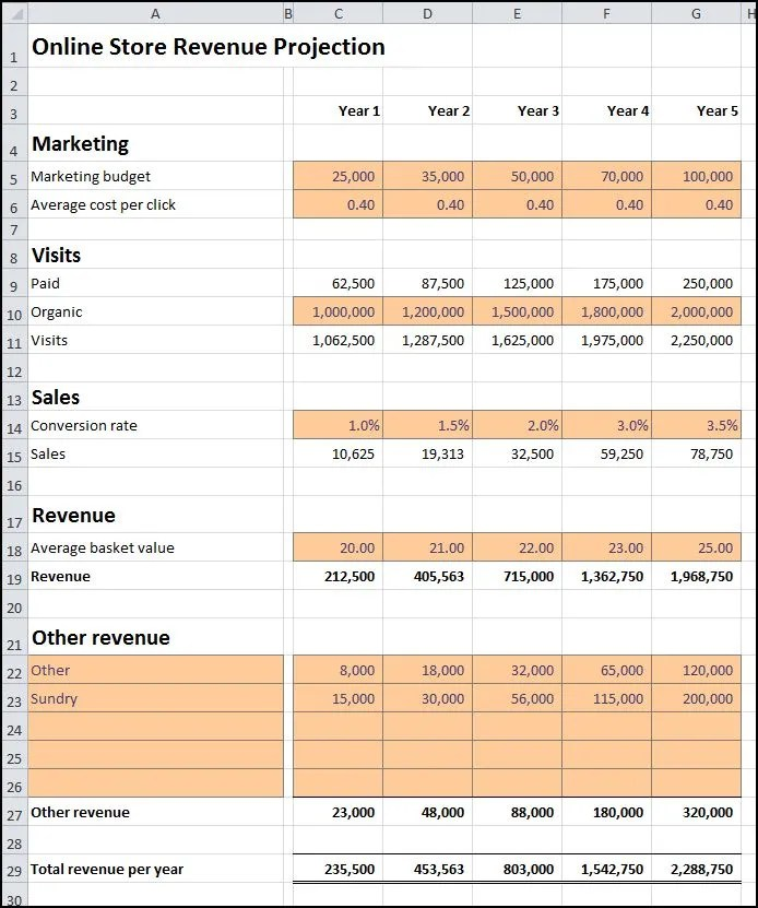 Online Store Revenue Projection Plan Projections