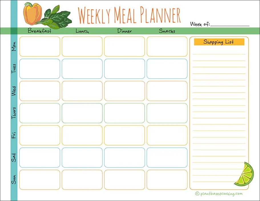 Weekly Meal Planner / Diary - Plant Based Cooking
