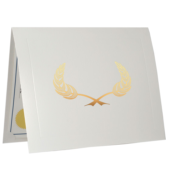 Certificate Presentation Folders In White Cardstock - PlaqueMaker