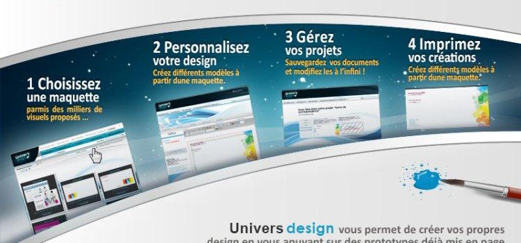 Dépliant et plaquette création graphique en ligne sur Univers Design