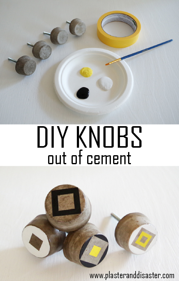 Make your own cabinet knobs out of cement - cheap and customizable! - Plaster & Disaster