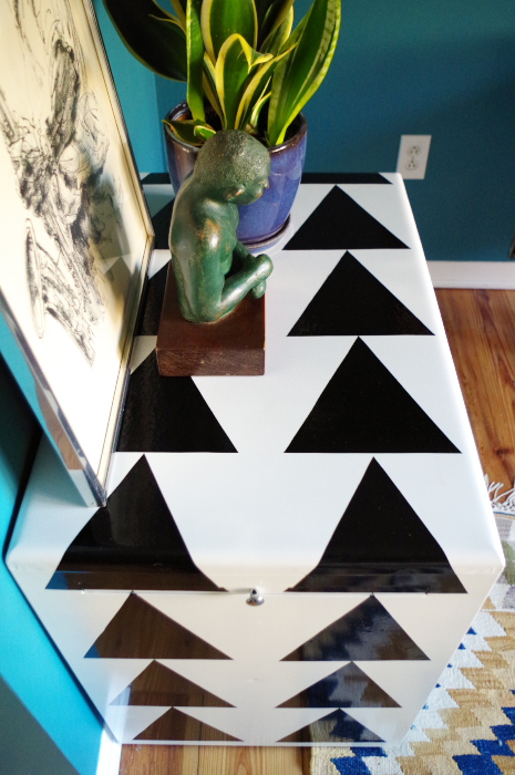 Graphic Cabinet Makeover With Adhesive Vinyl Plaster