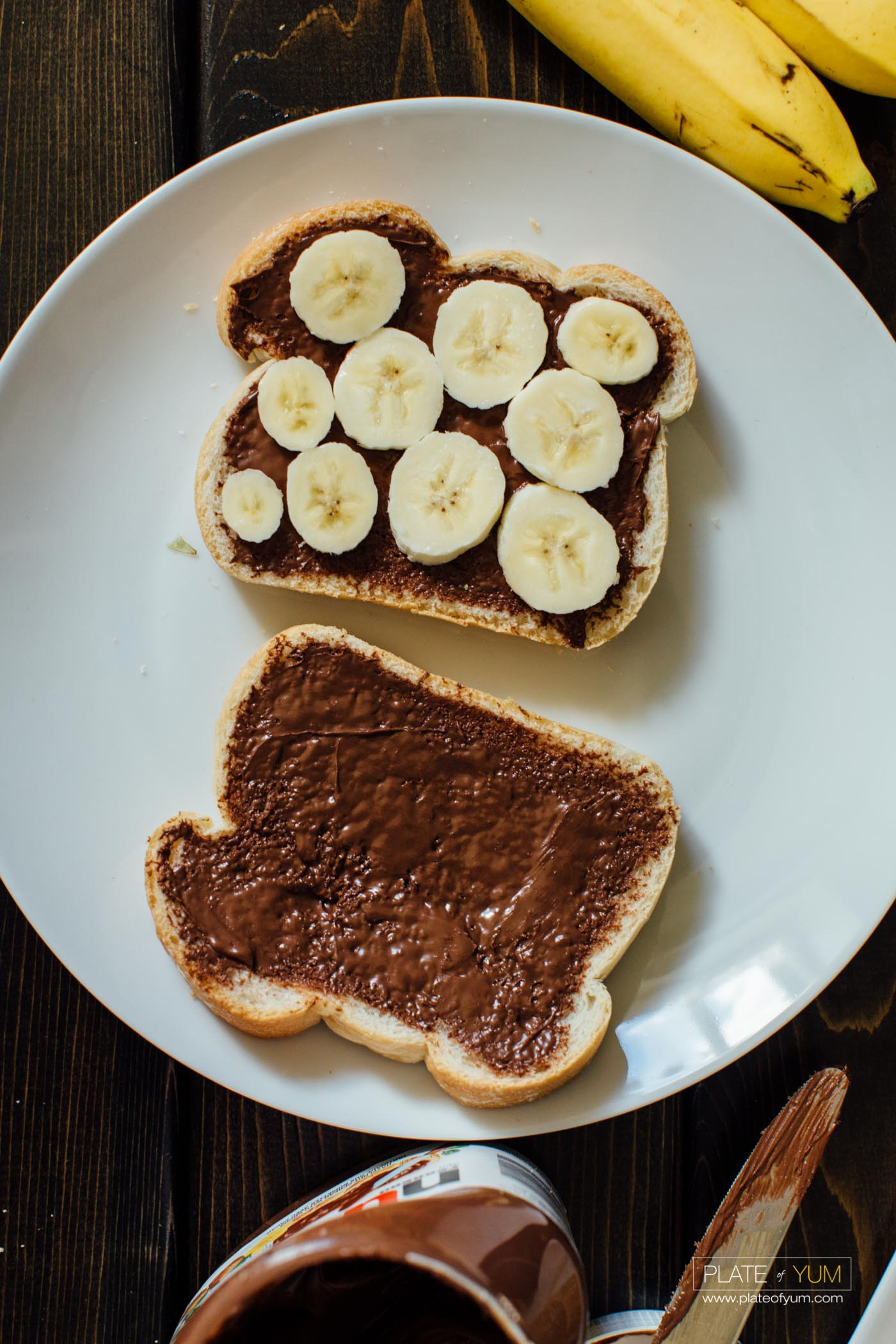 Now You're Ready For The French Toast Part Of This Recipe Put The 2 Slices  Of Bread Together And Make A Nutella Banana Sandwich Heat Up The Skillet  With A