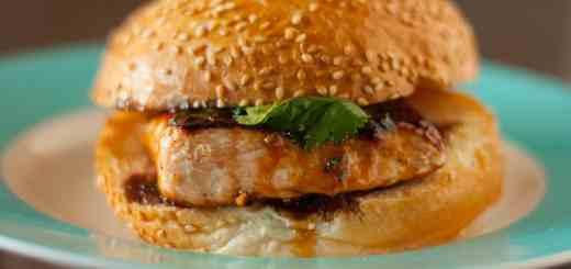 Sesame Salmon Burgers with Apricot Soy Sauce Glaze