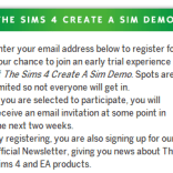 Sign up for a chance of Create a Sim demo!