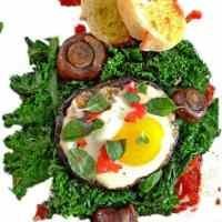 Baked Egg and Portabella with Braised Kale