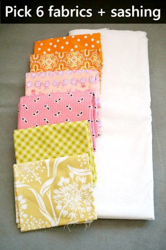 Pick your fabrics. Six feature fabrics and one neutral for the sashing.