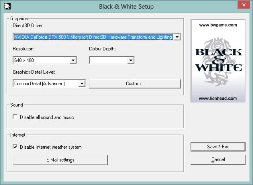 Black and White settings program