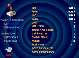 Player 2's key bindings